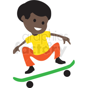 cartoon African American boy riding skateboard clipart. Commercial use image # 409951