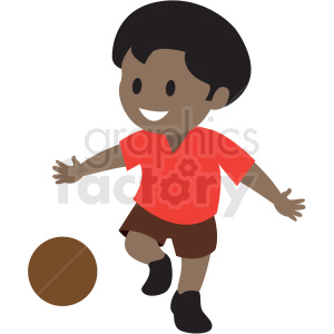 cartoon African American boy playing kickball clipart. Commercial use image # 409957