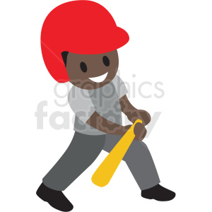 cartoon African American boy bunting baseball clipart. Commercial use icon # 409962