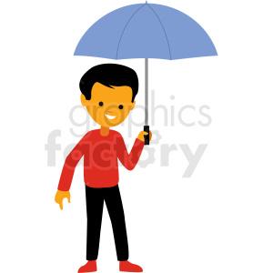 cartoon boy holding umbrella vector clipart clipart. Commercial use image # 409966