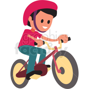 cartoon boy riding bike clipart. Royalty-free image # 409972
