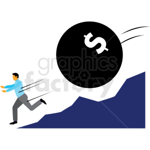 debt chasing man cartoon vector clipart clipart. Commercial use image # 409997