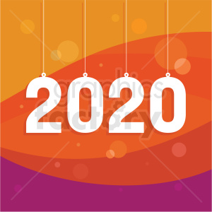 2020 new year clipart with orange background clipart. Commercial use image # 410046