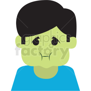sick cartoon boy vector icon