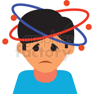 cartoon boy with bad headache vector icon