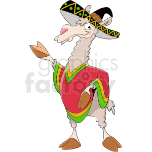 cartoon llama wearing sombrero clipart. Royalty-free image # 410139