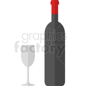 tall wine bottle and glass clipart. Commercial use image # 410287
