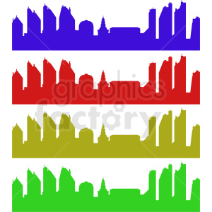 city skylines vector bundle clipart. Commercial use image # 410412
