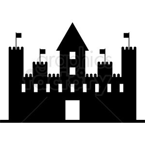 black and white castle silhouette vector clipart clipart. Royalty-free image # 410414