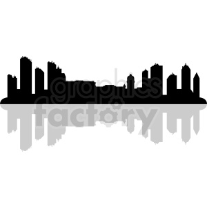 city skyline silhouette with shadow vector clipart. Commercial use image # 410424