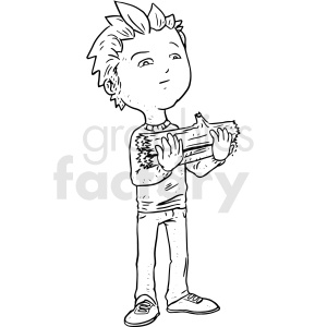 boy holding firewood clipart. Commercial use image # 410529