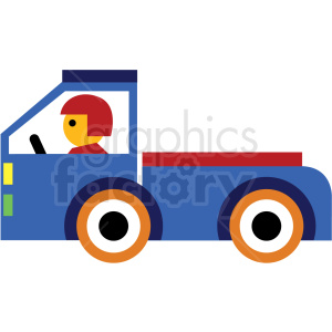 cartoon flatbed truck vector icon clipart. Commercial use image # 410680