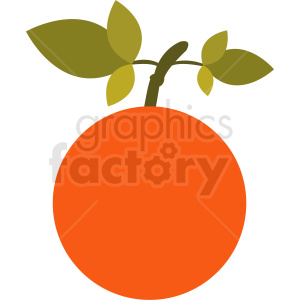 orange with leafs vector icon