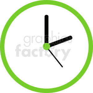vector wall clock with green edge clipart clipart. Commercial use image # 410815