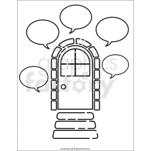 door doodle note printable page clipart. Commercial use image # 411186