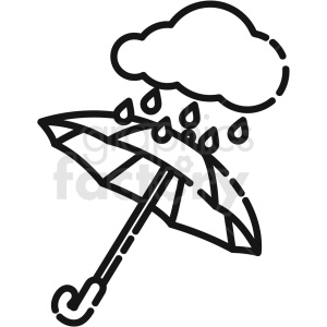 black and white umbrella with rain cloud vector icon clipart. Commercial use image # 411208