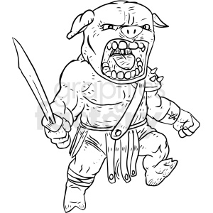 warrior pig vector clipart