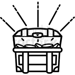 open treasure chest outline vector icon clipart. Royalty-free image # 411233
