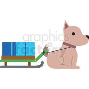 dog pulling sled flat vector icon clipart. Royalty-free image # 411280