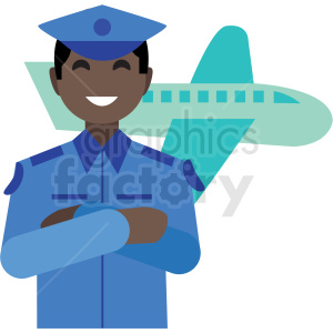 black pilot flat icon vector icon clipart. Royalty-free image # 411298