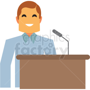 man speaking at podium flat icon vector icon clipart. Royalty-free image # 411300