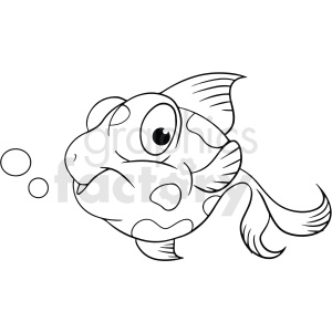 black white cartoon betta fish clipart. Royalty-free image # 411439