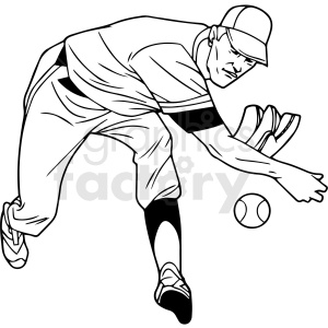 black and white baseball player vector clipart clipart. Royalty-free image # 411460