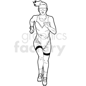 black and white female runner vector clipart clipart. Commercial use image # 411462