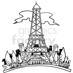 cartoon eiffel tower black white vector clipart clipart. Commercial use image # 411501