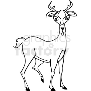 cartoon deer black white vector clipart clipart. Royalty-free image # 411658