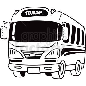 black and white cartoon tourist bus vector clipart clipart. Commercial use image # 411753