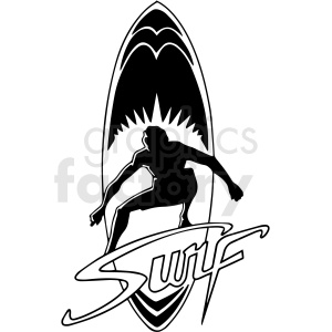 black and white surf design vector clipart clipart. Commercial use image # 411762