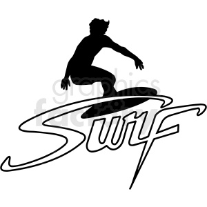 black and white man surfing design vector clipart clipart. Commercial use image # 411763