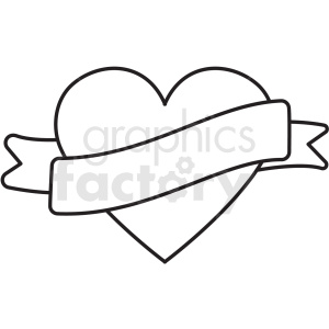 black white heart with ribbon vector clipart