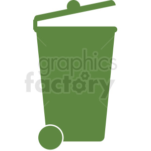green rolling trash can vector clipart clipart. Commercial use image # 412012