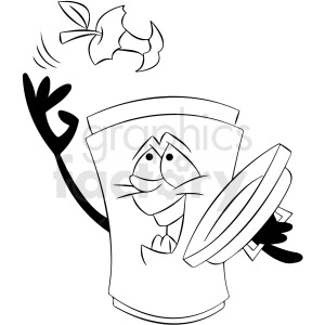 black and white cartoon trash can character trowing trash away clipart. Royalty-free image # 412431