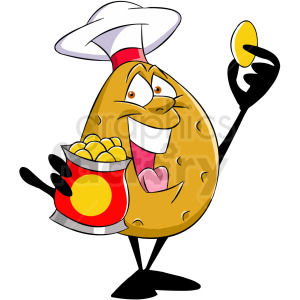 cartoon potato eating potato chip clipart. Royalty-free image # 412439