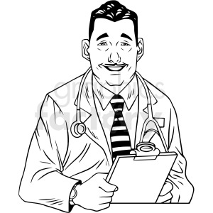 black and white retro doctor vector clipart clipart. Royalty-free image # 412467