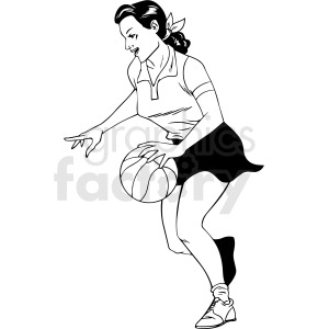 black and white retro female basketball player vector clipart
