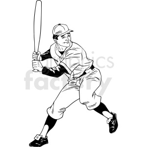 black and white retro baseball player vector clipart clipart. Commercial use image # 412471