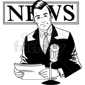 black white vintage male news reporter vector clipart clipart. Royalty-free image # 412533