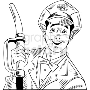 black white vintage gas station attendant vector clipart clipart. Commercial use image # 412541
