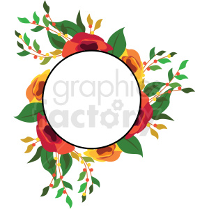floral border circle frame vector graphic clipart. Royalty-free image # 412688