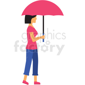 woman holding umbrella vector clipart clipart. Commercial use image # 412731