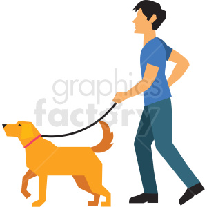 man walking dog vector clipart