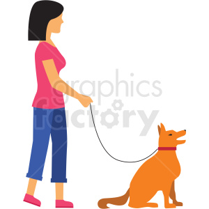 woman walking dog vector clipart clipart. Royalty-free image # 412751