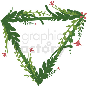 triangle shaped full floral frame vector clipart