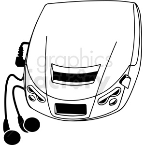 portable cd player black and white vector clipart. Commercial use image # 412836