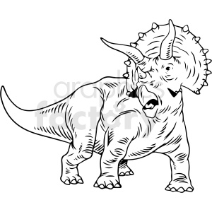 black and white Triceratops dinosaur vector illustration clipart. Commercial use image # 412917