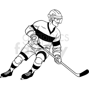 black and white hockey player with stick clipart design clipart. Royalty-free image # 412936